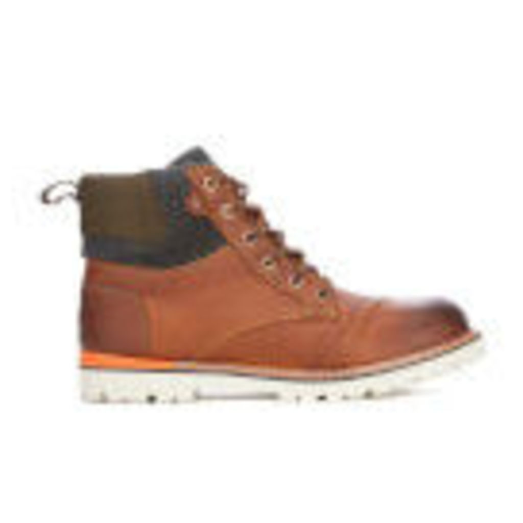 TOMS Men's Ashland Leather/Herringbone Lace-up Boots - Brown