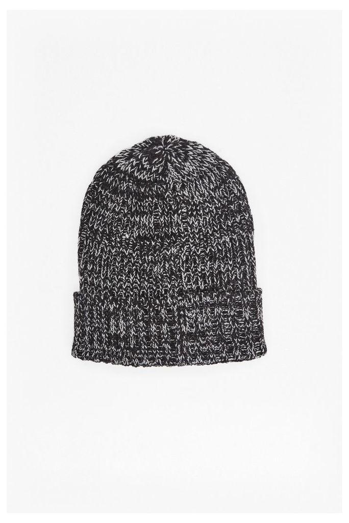 ATTICUS TWO TONE BEANIE HAT - Black/White