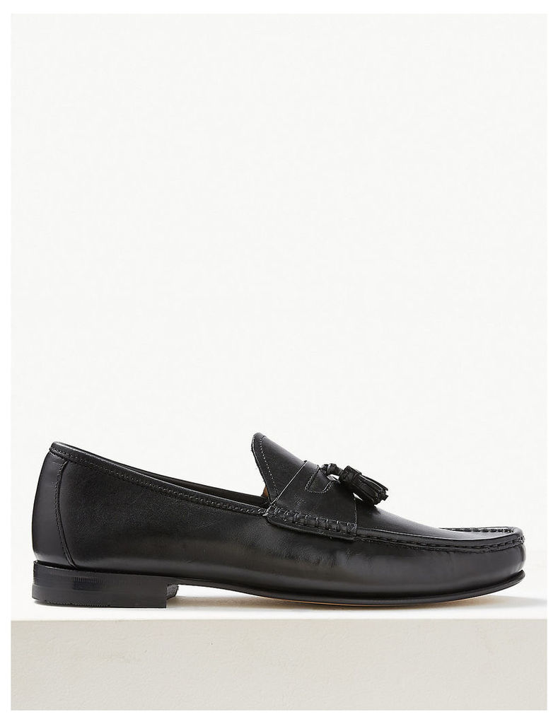 M&S Collection Leather Slip-On Tassel Loafers