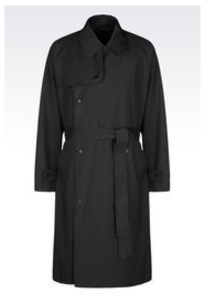 OFFICIAL STORE EMPORIO ARMANI TRENCH COAT IN WORSTED WOOL
