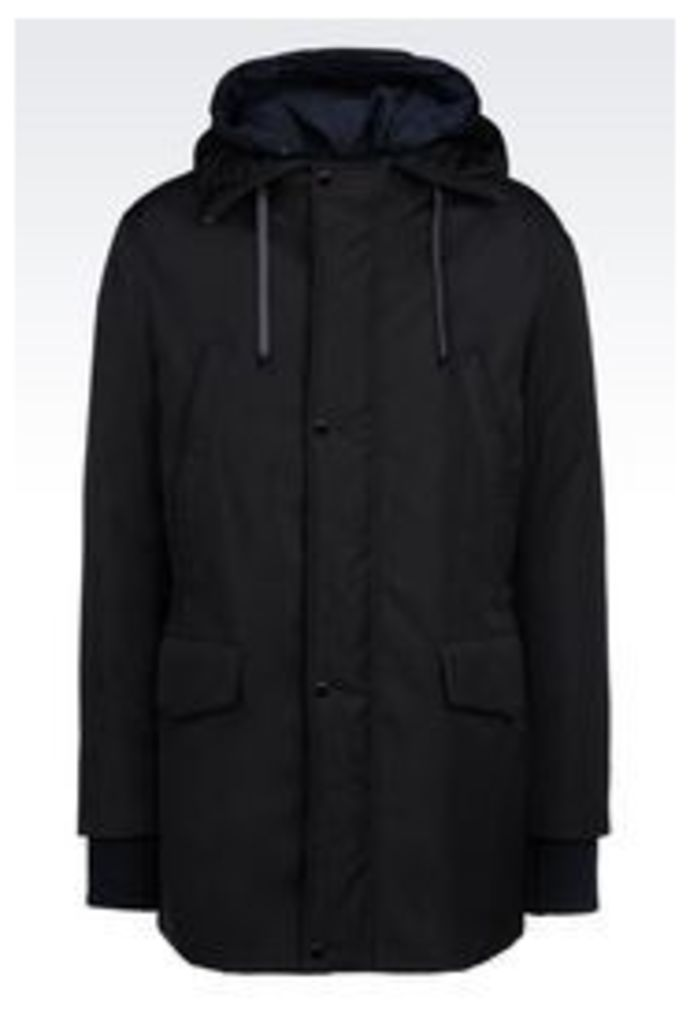 OFFICIAL STORE EMPORIO ARMANI DOWN JACKET IN TECHNICAL FABRIC WITH HOOD