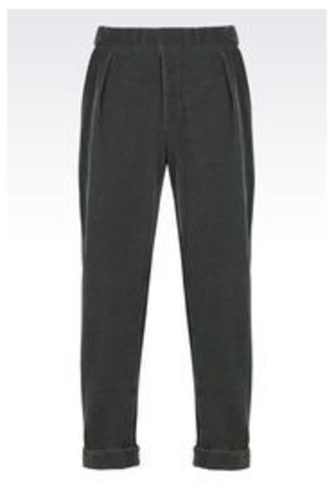 OFFICIAL STORE EMPORIO ARMANI RUNWAY TROUSERS IN FLOCKED FLEECE