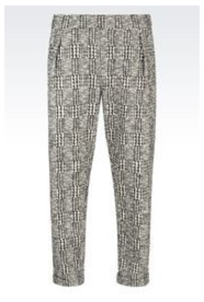 OFFICIAL STORE EMPORIO ARMANI RUNWAY TROUSERS IN PRINCE OF WALES
