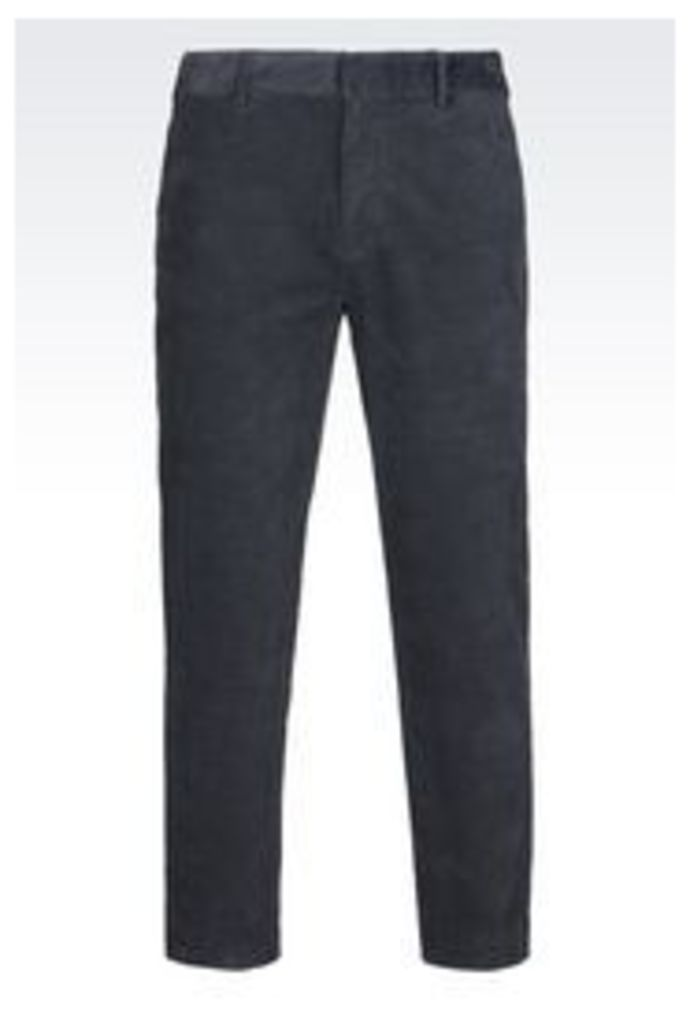 OFFICIAL STORE EMPORIO ARMANI TROUSERS IN VELVET