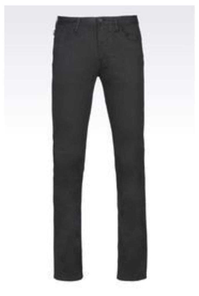 OFFICIAL STORE ARMANI JEANS SLIM FIT TROUSERS IN COTTON SATIN