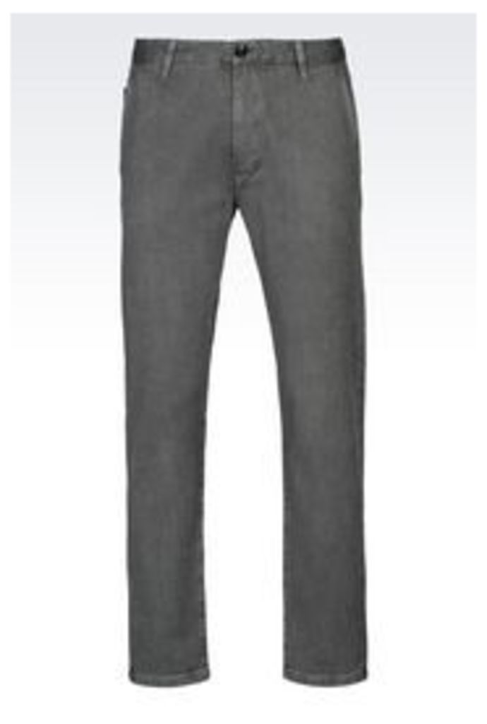 OFFICIAL STORE ARMANI JEANS SLIM FIT TROUSERS IN JACQUARD COTTON CANVAS