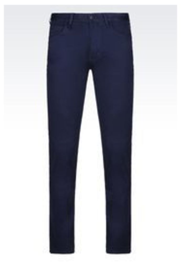 OFFICIAL STORE ARMANI JEANS SLIM FIT 5 POCKET TROUSERS IN COTTON SATIN