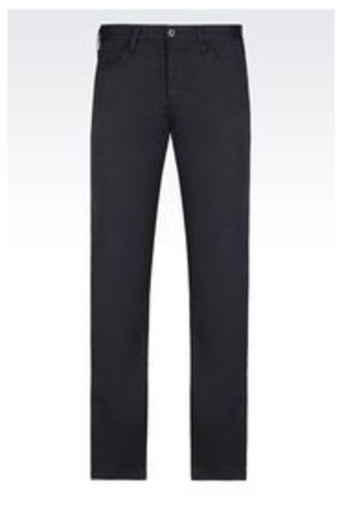 OFFICIAL STORE ARMANI JEANS 5 POCKET TROUSERS IN STRETCH COTTON GABARDINE