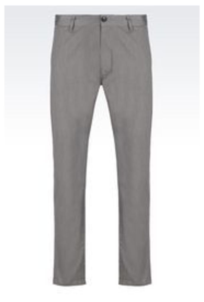 OFFICIAL STORE ARMANI JEANS SLIM FIT TROUSERS IN COTTON CANVAS