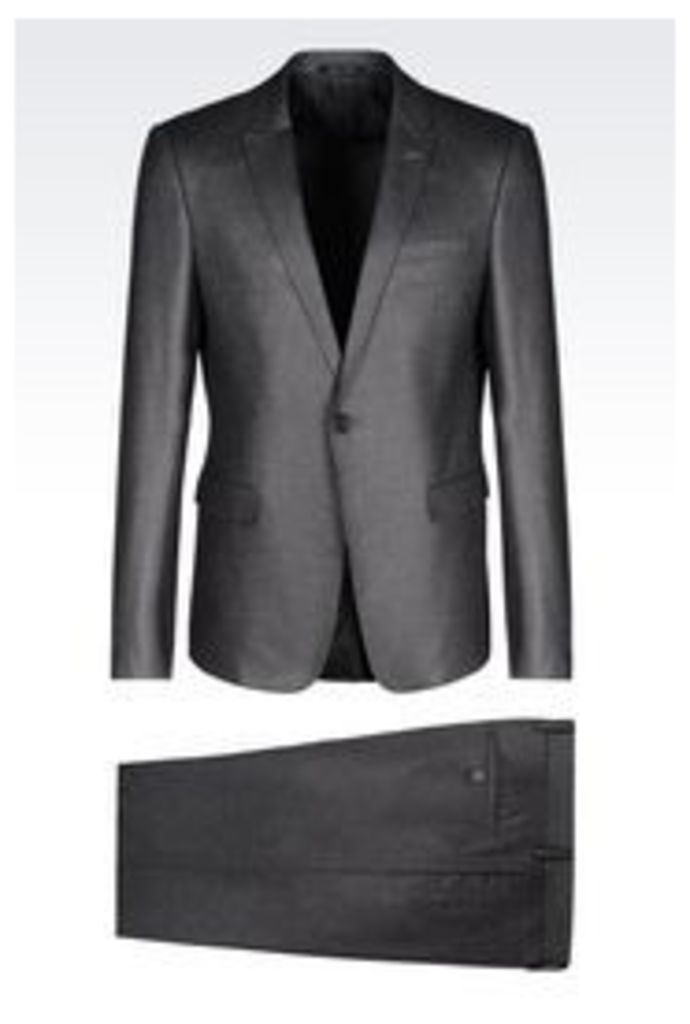 OFFICIAL STORE EMPORIO ARMANI SLIM FIT SUIT IN STRETCH FLANNEL