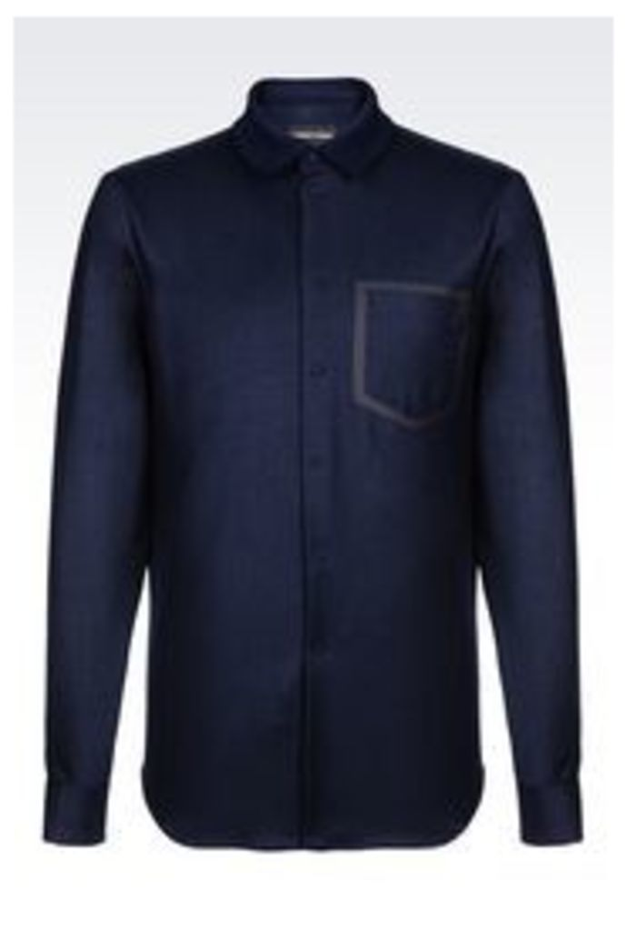 OFFICIAL STORE EMPORIO ARMANI SLIM FIT SHIRT IN STRETCH WOOL