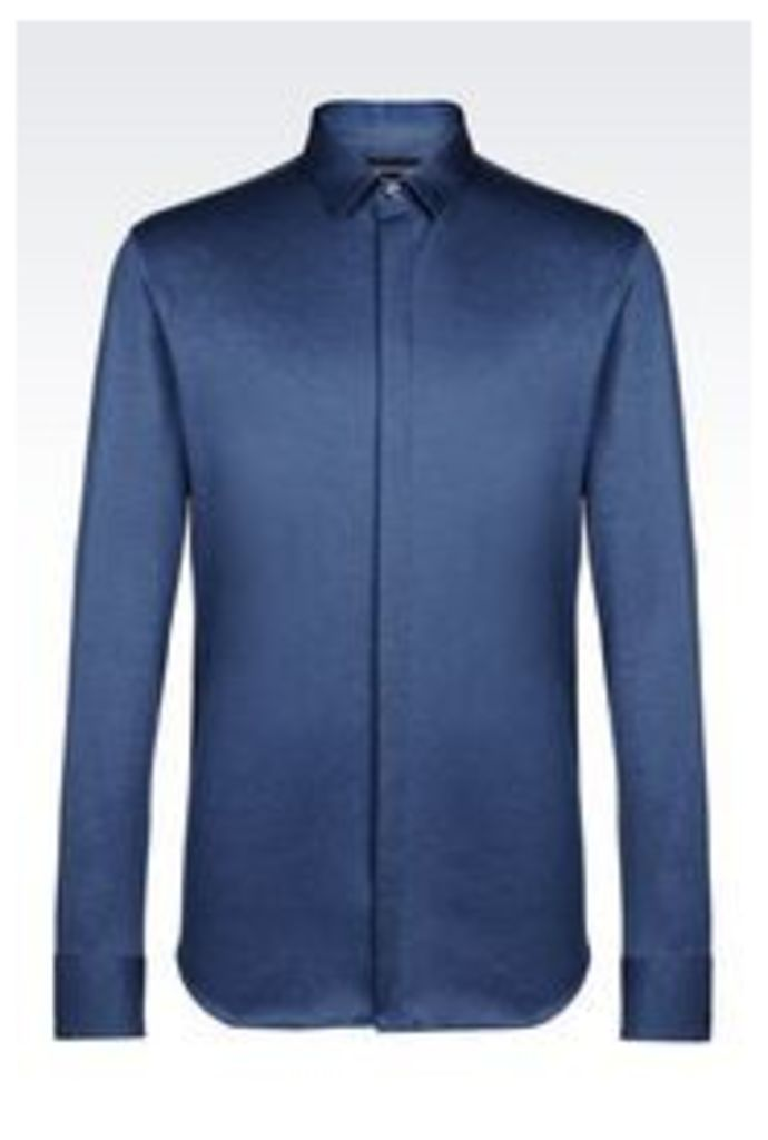 OFFICIAL STORE EMPORIO ARMANI SLIM FIT RUNWAY SHIRT IN JERSEY