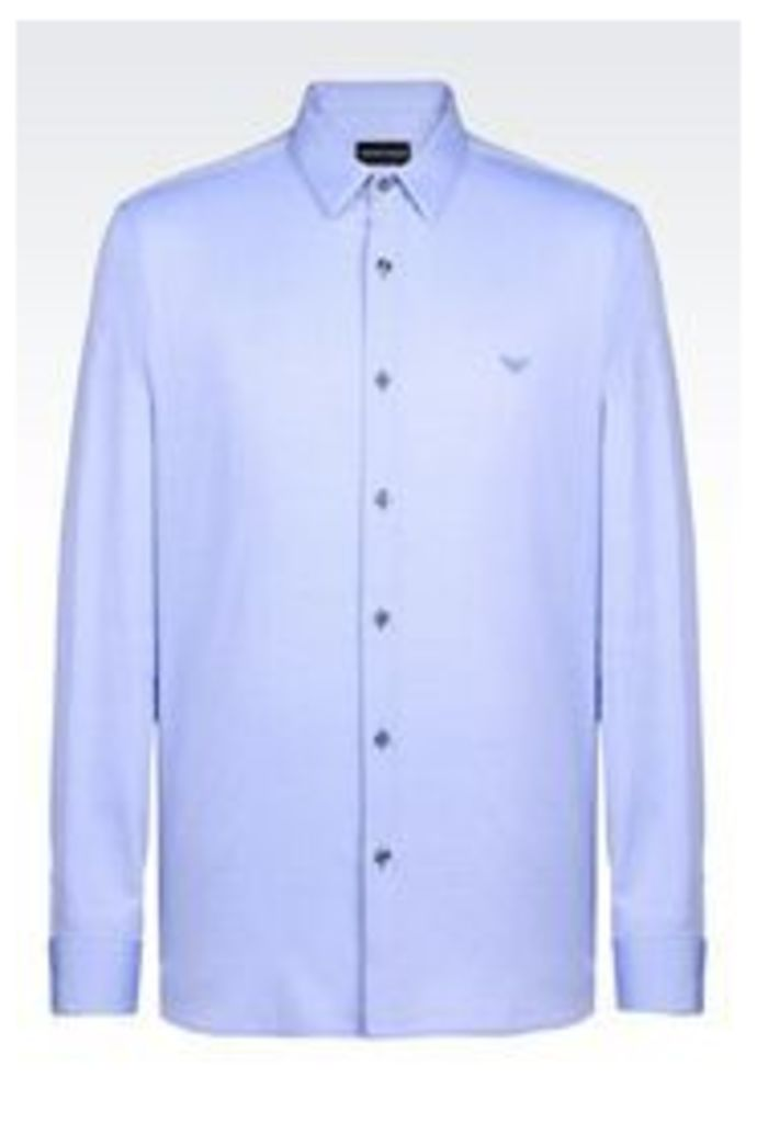 OFFICIAL STORE EMPORIO ARMANI SHIRT IN OXFORD FABRIC