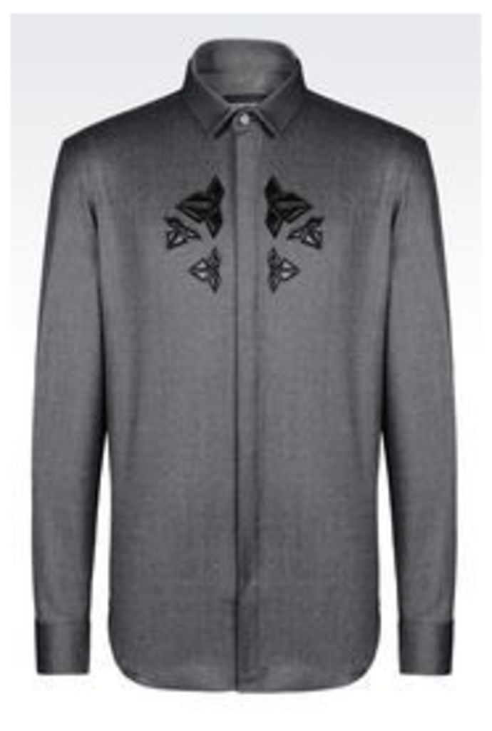 OFFICIAL STORE EMPORIO ARMANI SHIRT IN STRETCH WOOL
