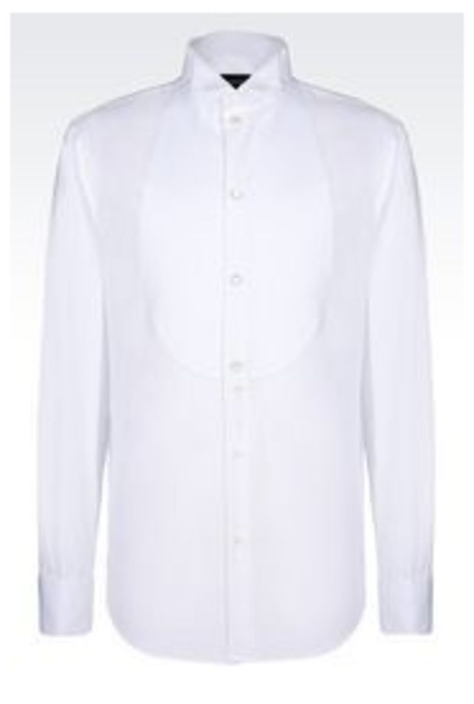 OFFICIAL STORE EMPORIO ARMANI DRESS SHIRT WITH BIB-FRONT