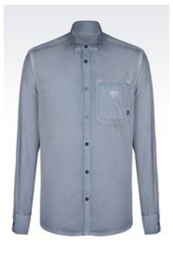 OFFICIAL STORE ARMANI JEANS SHIRT IN COTTON POPLIN