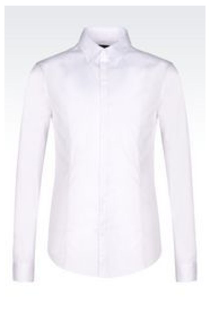 OFFICIAL STORE ARMANI JEANS STRETCH COTTON POPLIN SHIRT