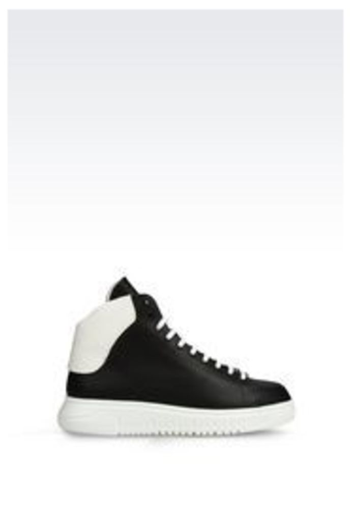 OFFICIAL STORE EMPORIO ARMANI HIGH TOP SNEAKER IN LEATHER