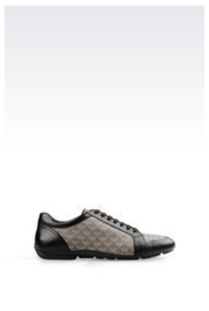OFFICIAL STORE EMPORIO ARMANI SNEAKER IN NAPA LEATHER AND LOGO PATTERNED PVC