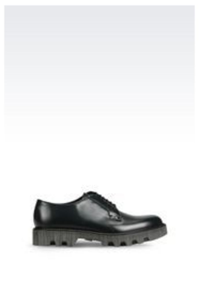 OFFICIAL STORE EMPORIO ARMANI RUNWAY DERBY IN BRUSHED CALFSKIN