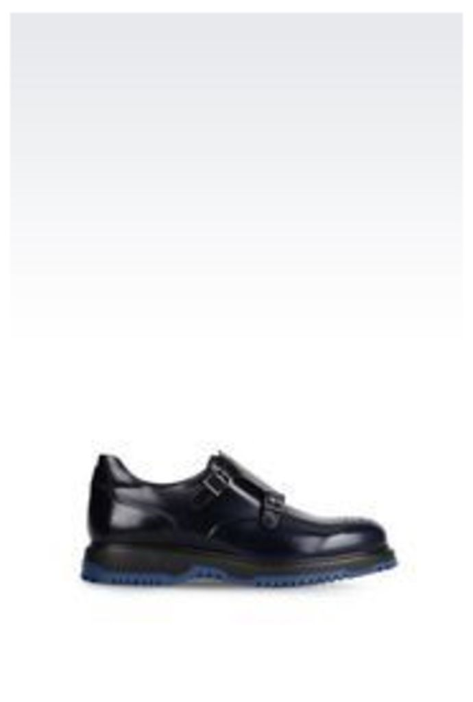 OFFICIAL STORE EMPORIO ARMANI MONKSTRAP IN BRUSHED CALFSKIN