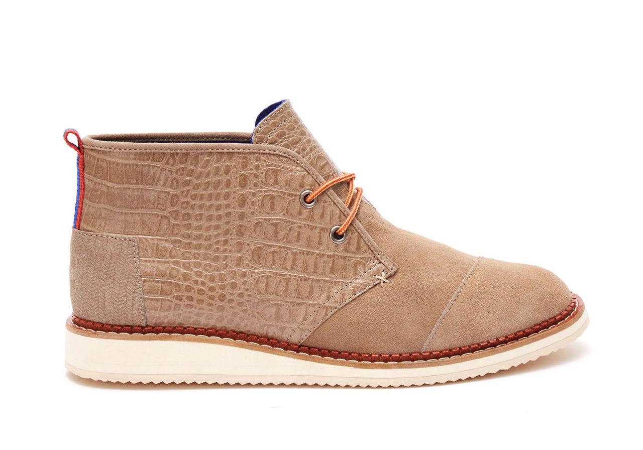 Desert Taupe Croc Embossed Leather Men's Mateo Chukka Boots