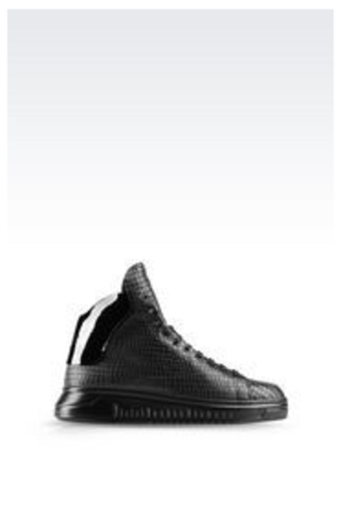 OFFICIAL STORE EMPORIO ARMANI HIGH TOP SNEAKER IN CROC PRINT CALFSKIN