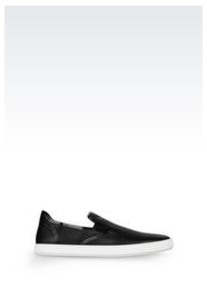 OFFICIAL STORE EMPORIO ARMANI SLIP-ON IN TUMBLED CALFSKIN
