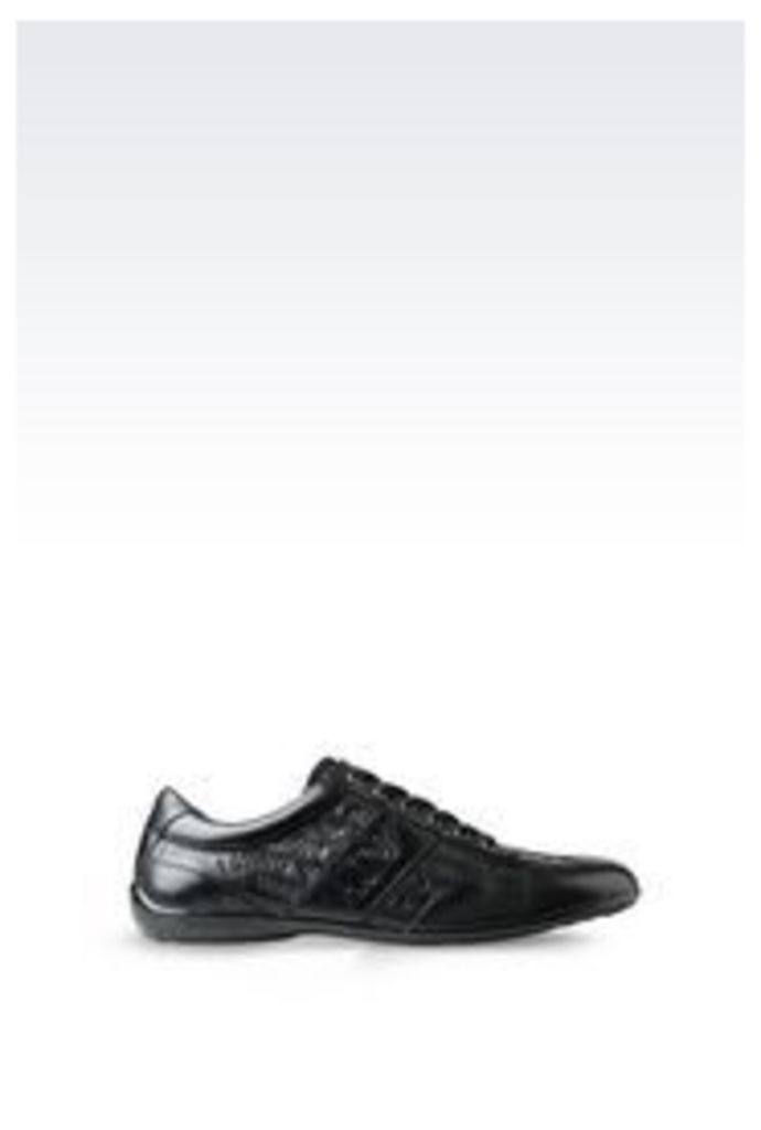 OFFICIAL STORE ARMANI JEANS CLASSIC SNEAKER IN LOGO PATTERNED LEATHER