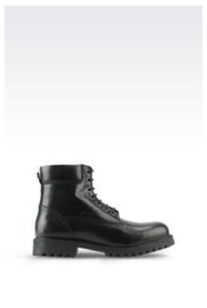 OFFICIAL STORE ARMANI JEANS COMBAT BOOT IN LEATHER