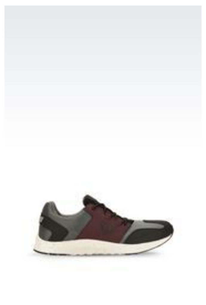 OFFICIAL STORE ARMANI JEANS SNEAKER IN NUBUCK AND TECHNICAL FABRIC