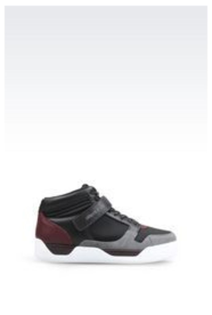 OFFICIAL STORE ARMANI JEANS HIGH-TOP SNEAKER IN NEOPRENE AND LEATHER