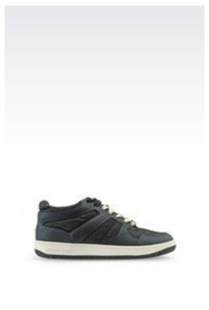 OFFICIAL STORE ARMANI JEANS SNEAKER IN DENIM AND LEATHER