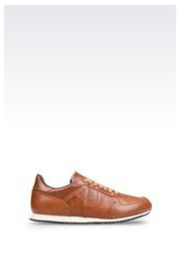 OFFICIAL STORE ARMANI JEANS SNEAKER IN LEATHER