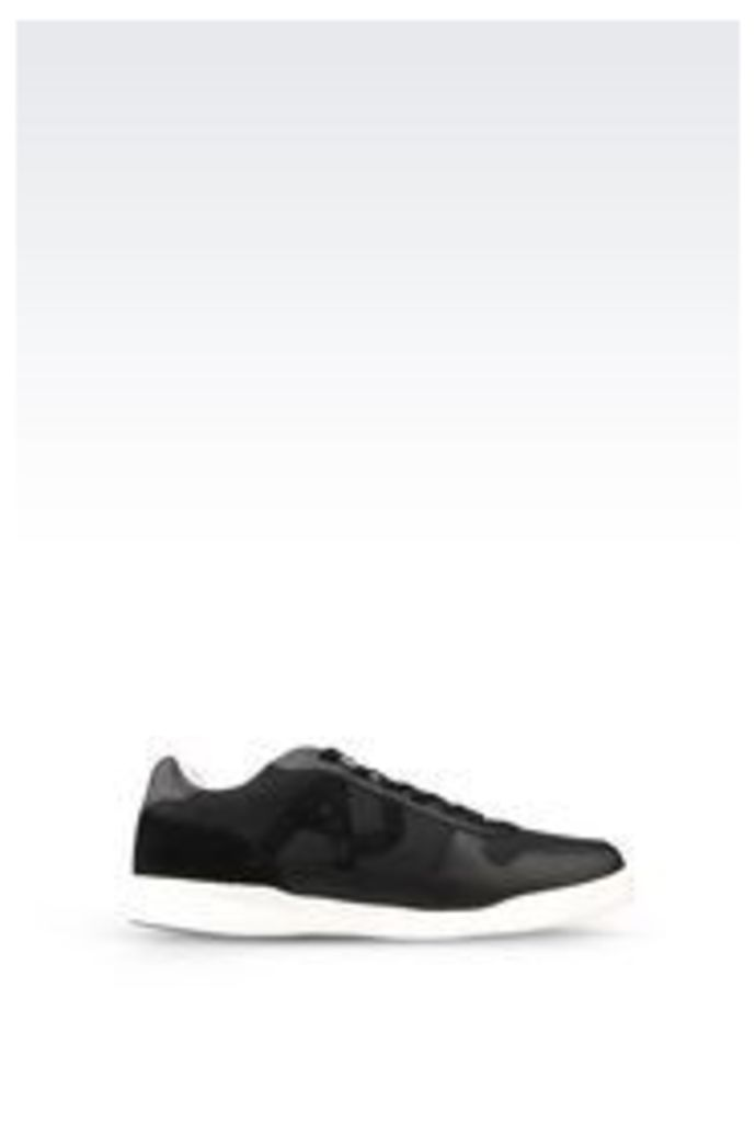 OFFICIAL STORE ARMANI JEANS SNEAKER IN LEATHER AND TECHNICAL FABRIC