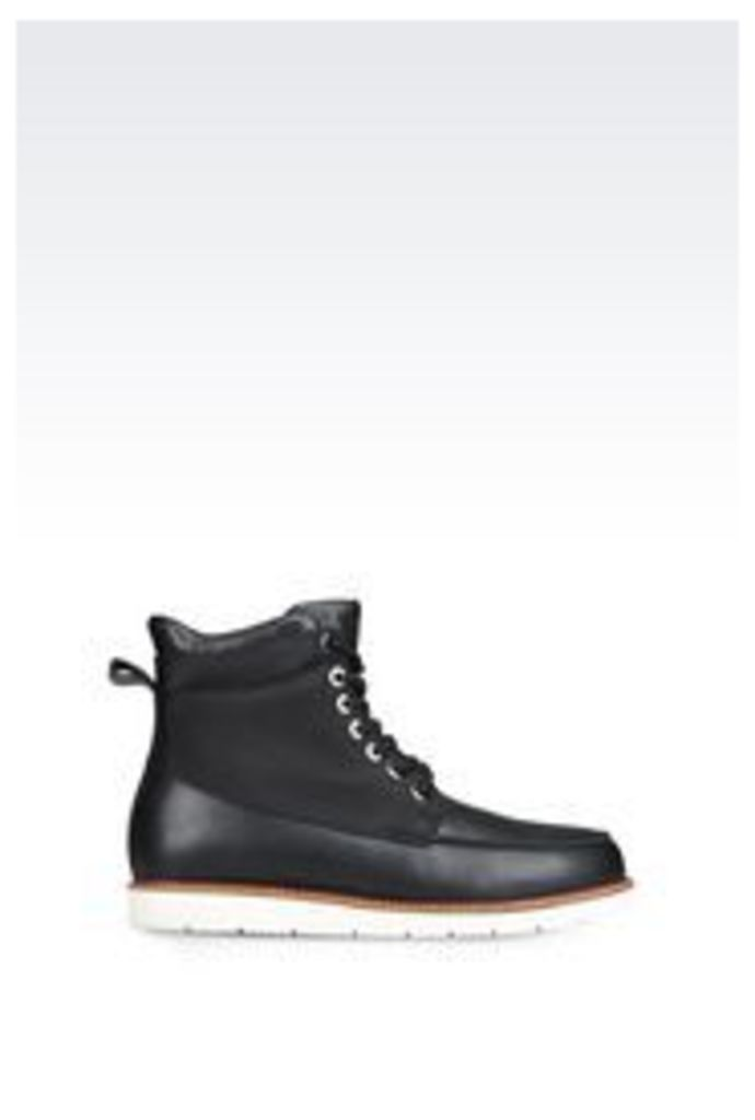 OFFICIAL STORE ARMANI JEANS LEATHER ANKLE BOOT