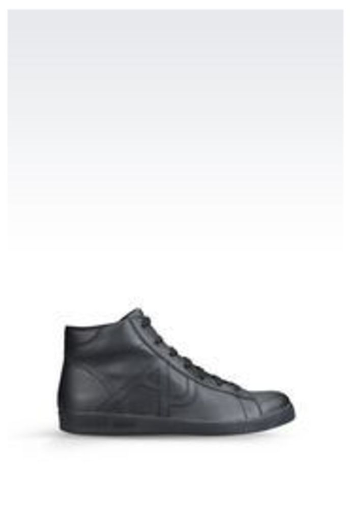OFFICIAL STORE ARMANI JEANS HIGH-TOP LEATHER SNEAKER