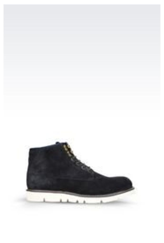 OFFICIAL STORE ARMANI JEANS ANKLE BOOT IN SUEDE AND NEOPRENE