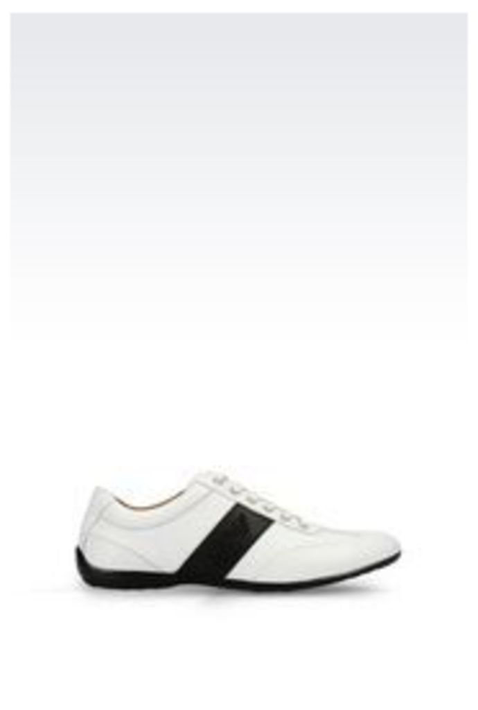 OFFICIAL STORE ARMANI JEANS CLASSIC LEATHER SNEAKER WITH LOGO
