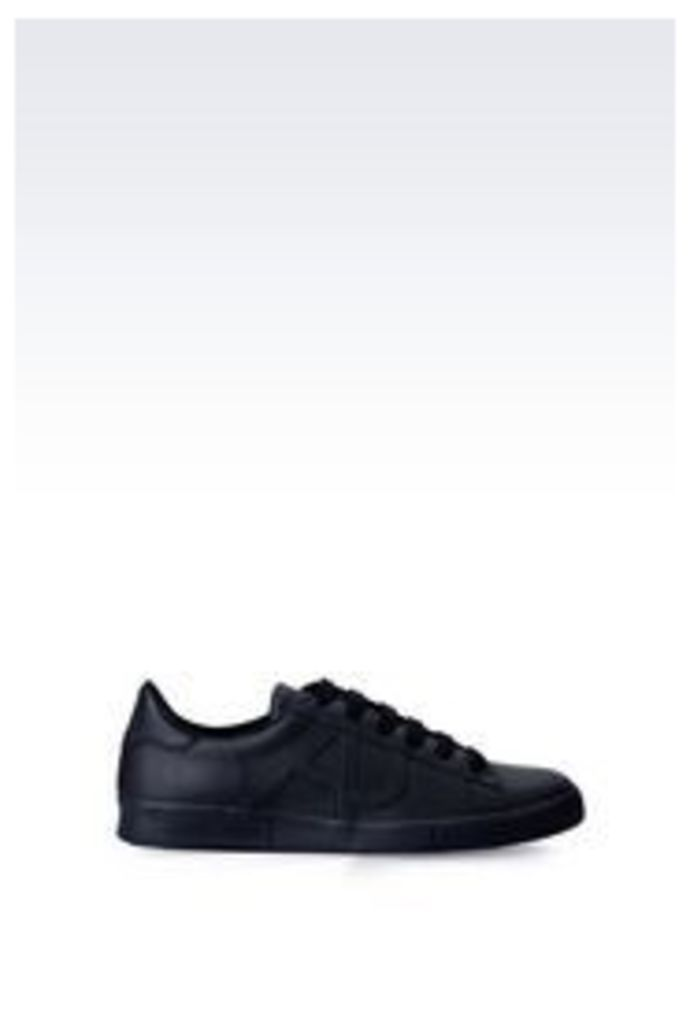 OFFICIAL STORE ARMANI JEANS LEATHER SNEAKER WITH LOGO