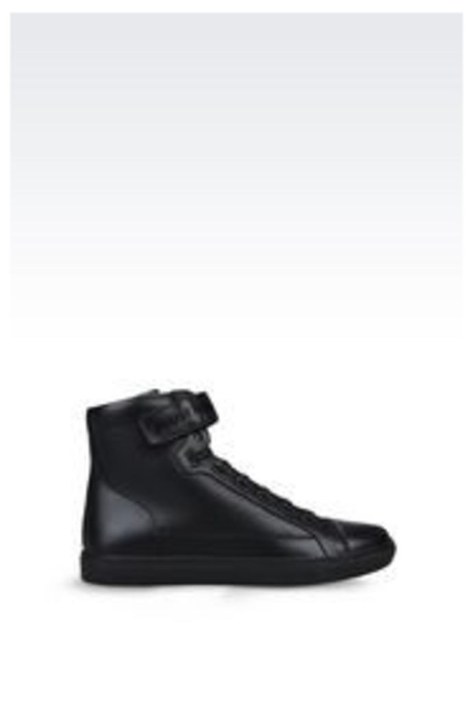 OFFICIAL STORE ARMANI JEANS HIGH-TOP SNEAKER IN LEATHER