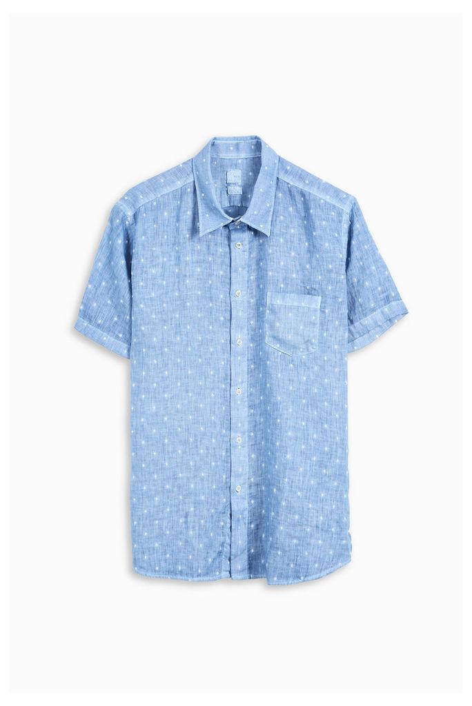 120% Lino Men`s Dot Linen Shirt Boutique1