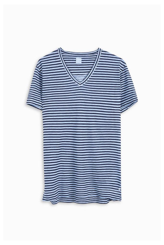 120% Lino Men`s Striped V-neck T-shirt Boutique1