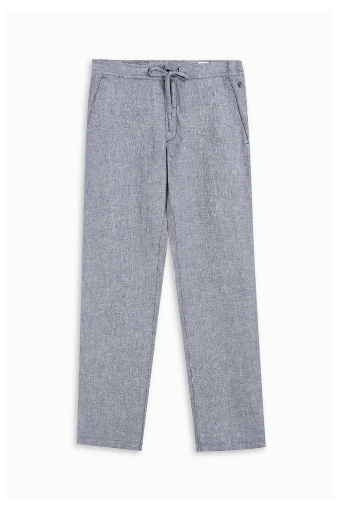 120% Lino Men`s Slim Micro Check Trousers Boutique1