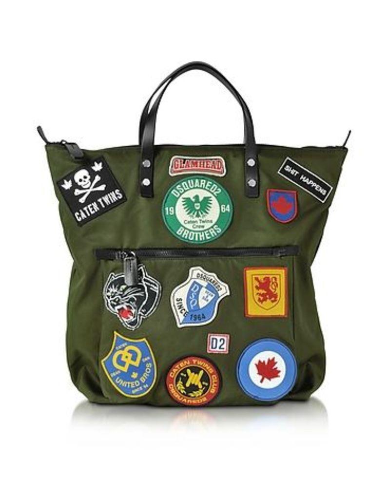 DSquared2 - Hiro Military Green Patchwork Men's Tote Bag