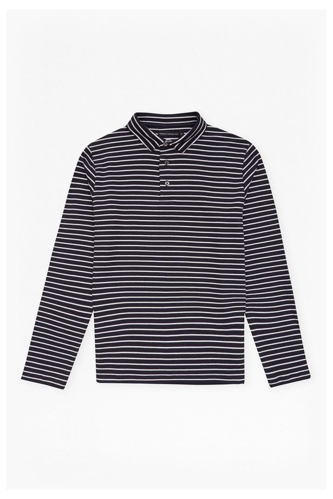 CENTRAL CREPE STRIPED LONG SLEEVES TOP - Marine Blue/White