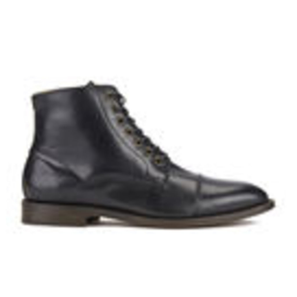 H Shoes by Hudson Men's Seymour Leather Toe Cap Lace Up Boots - Black - UK 10