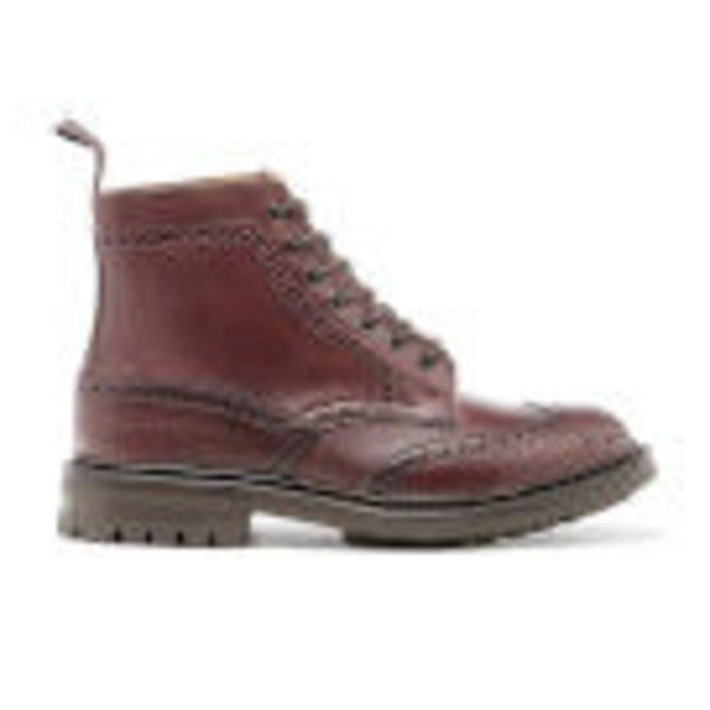 Tricker's Men's Stow Leather Commando Sole Lace Up Brogue Boots - Burgundy - UK 7