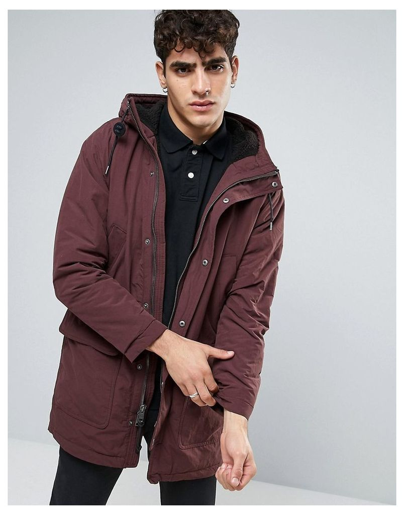 Abercrombie & Fitch Heavy Parka Borg Lined In Red - Fudge