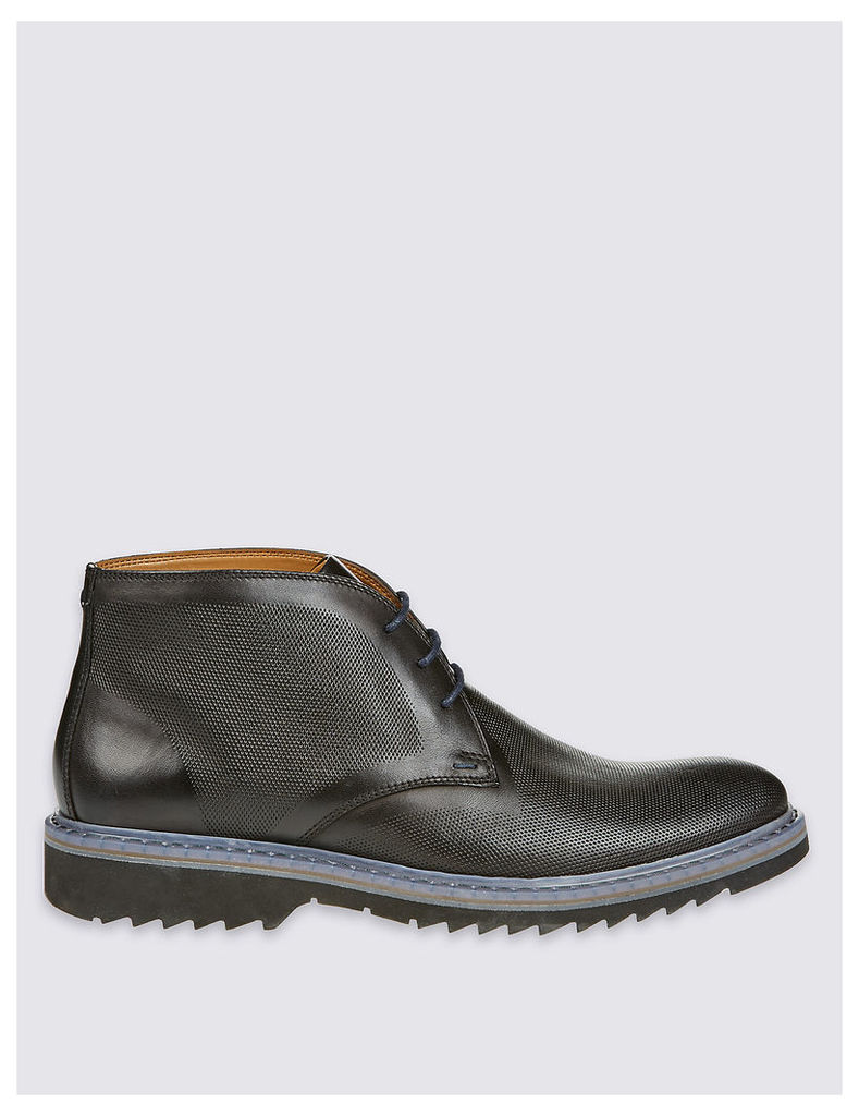 M&S Collection Leather Lace-up Embossed Chukka Boots